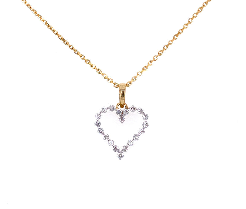 14K Gold Diamond Cutout Heart Necklace