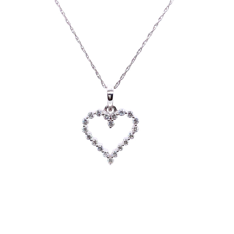 14K White Gold Diamond Cutout Heart Necklace