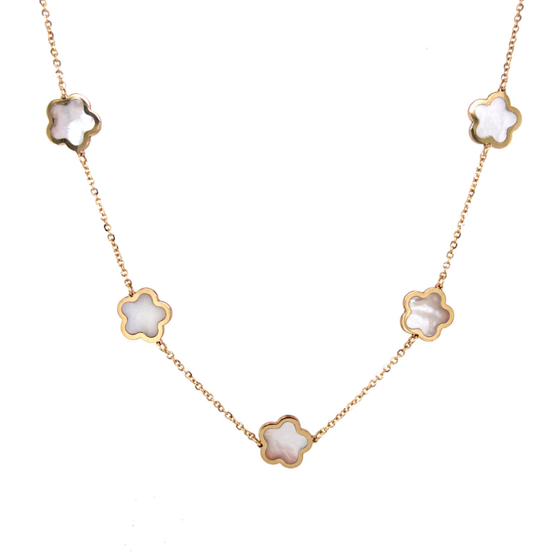 14K Gold Flower Mother Of Pearl Necklace