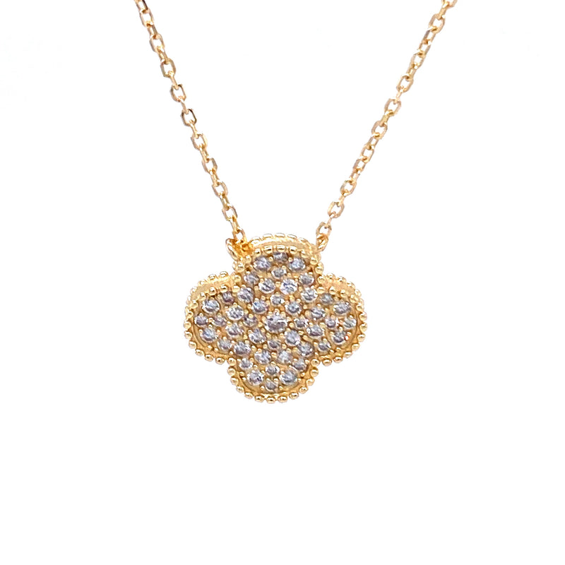 Pavé CZ Clover Necklace in Gold