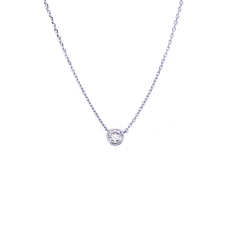 14K White Gold Diamond Solitaire Necklace