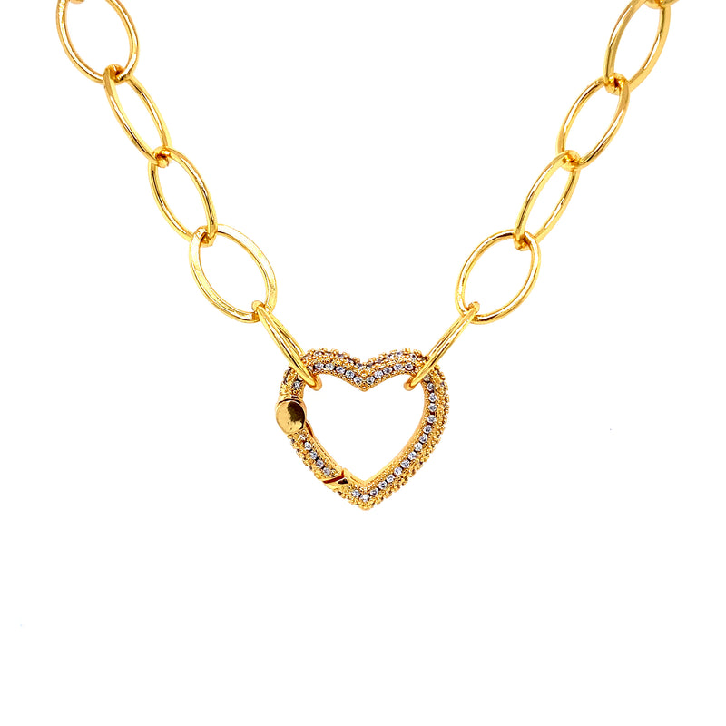 Oval Link Chain With Sparkling Heart