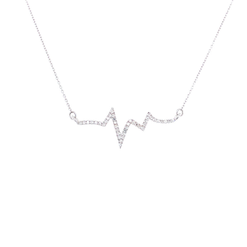 14K White Golf Diamond Heartbeat Necklace