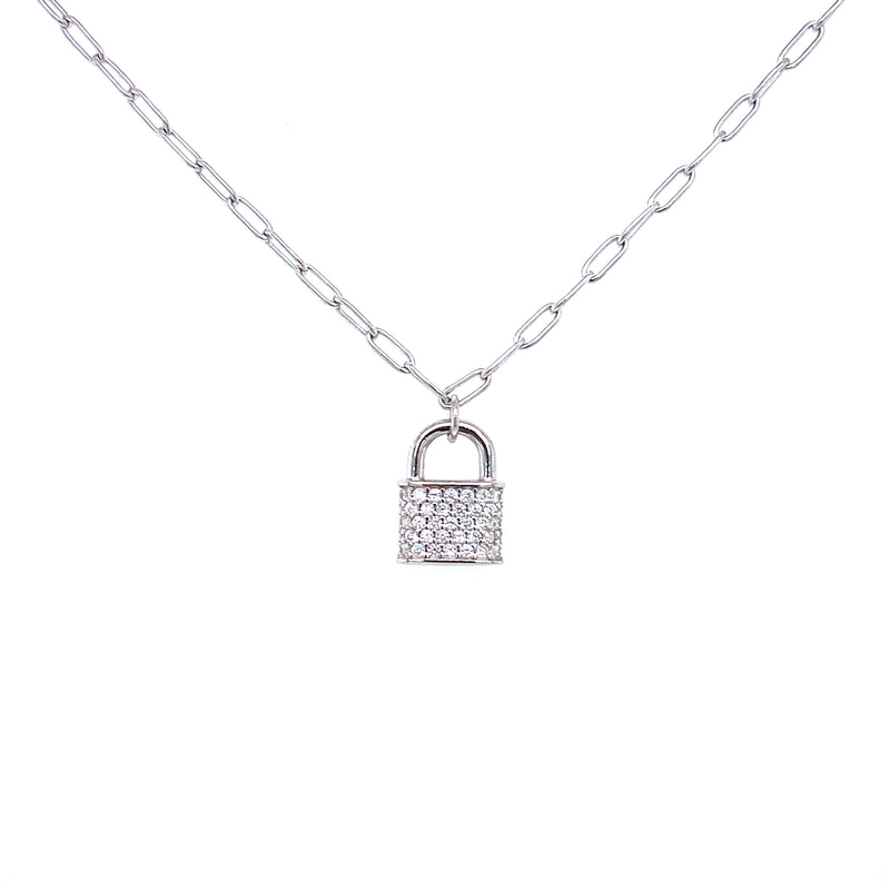 Mini Link Chain With CZ Lock Pendant