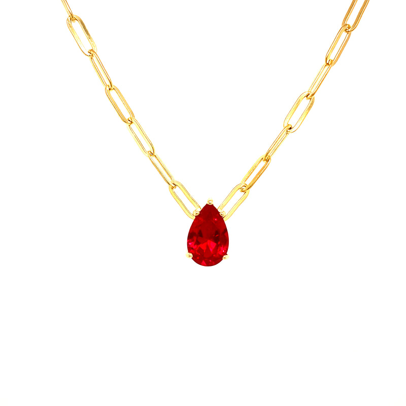 Mini Link Chain With Ruby Red Teardrop