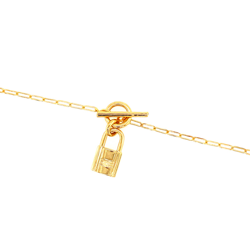 Mini Link Toggle Necklace With Lock Pendant