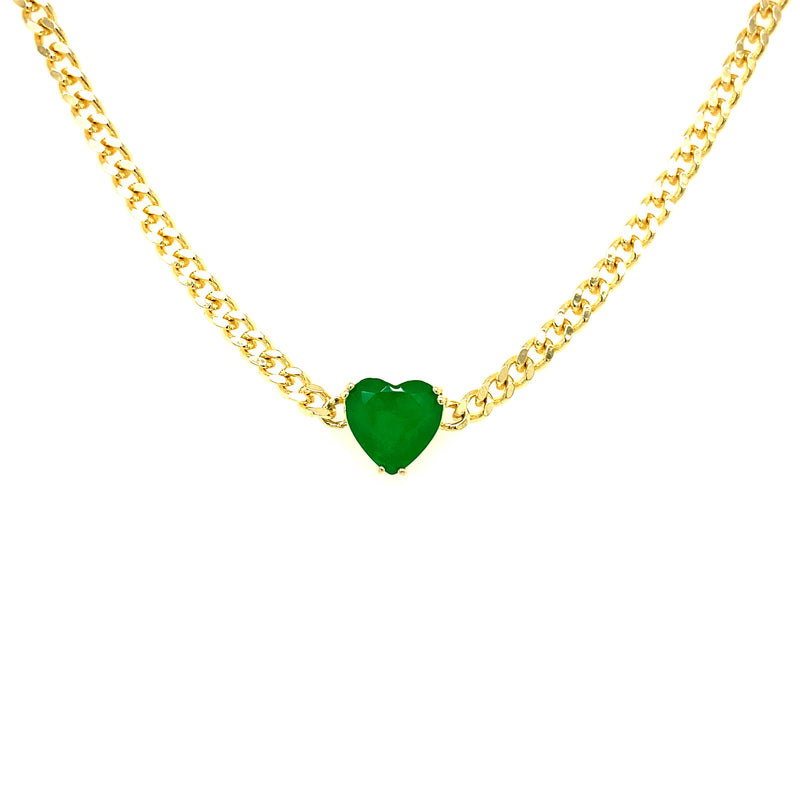 Curb Chain Choker With Green Heart