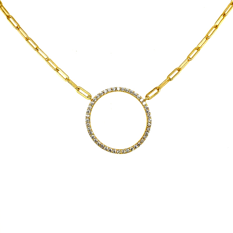 Circle Pendant With Link Chain