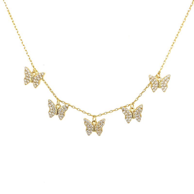 Five Dangling Butterfly Necklace