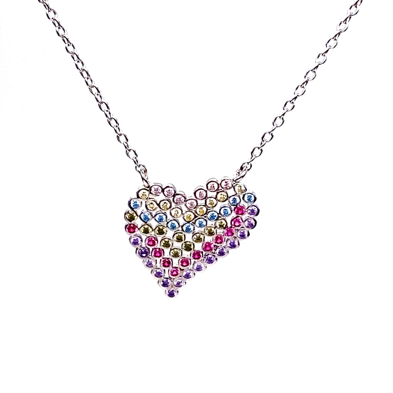 Colorful Heart Pendant Necklace