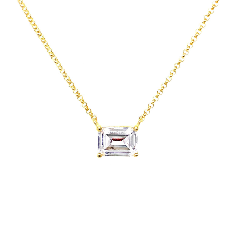 Emerald Cut Stone Necklace