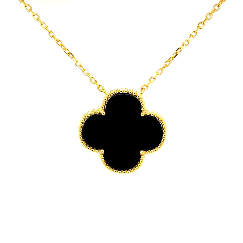 Single Black Onyx Clover Necklace in Gold (Small & Medium)