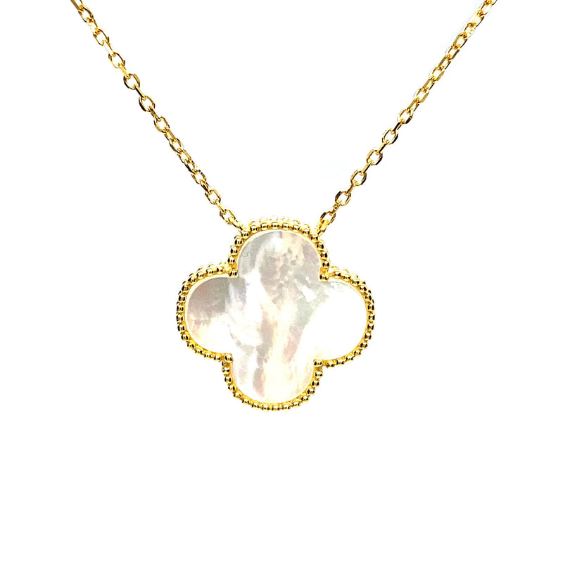 Single Mother-Of-Pearl Clover Necklace in Gold (Small & Medium)