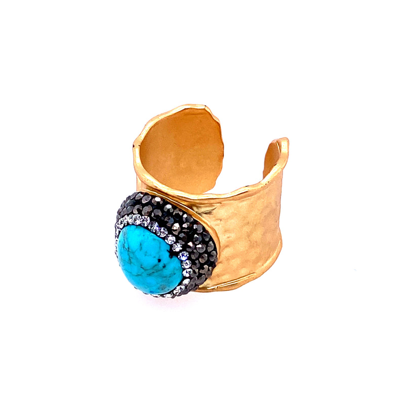 Adjustable Turquoise Wide Ring