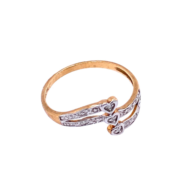 Gold Triple Heart Diamond Ring