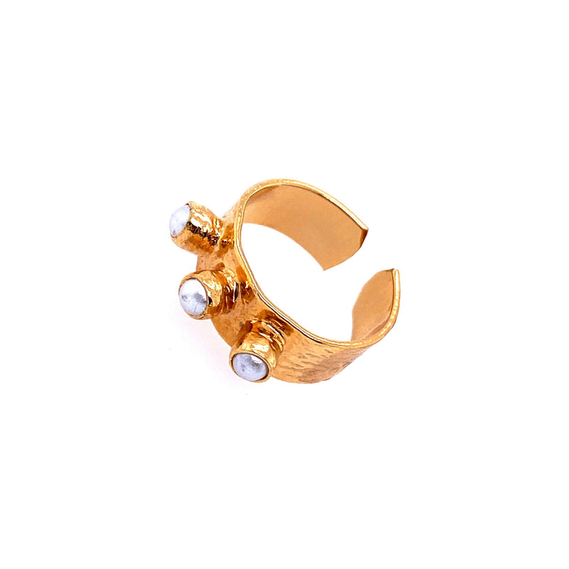 Hammered Brass Ring With Pearls