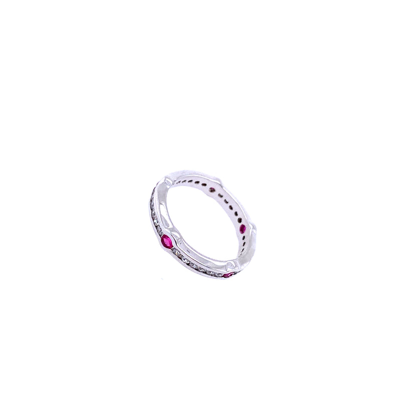 Band Ring With Pink Stones