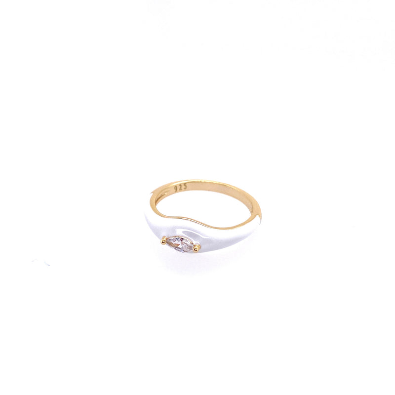 White Enamel Ring with CZ