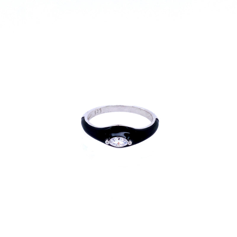 Black Enamel Ring With CZ