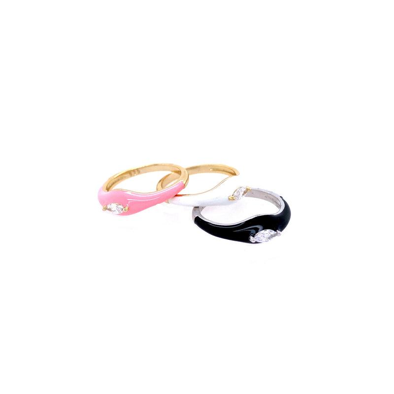 Pink Enamel Ring With CZ
