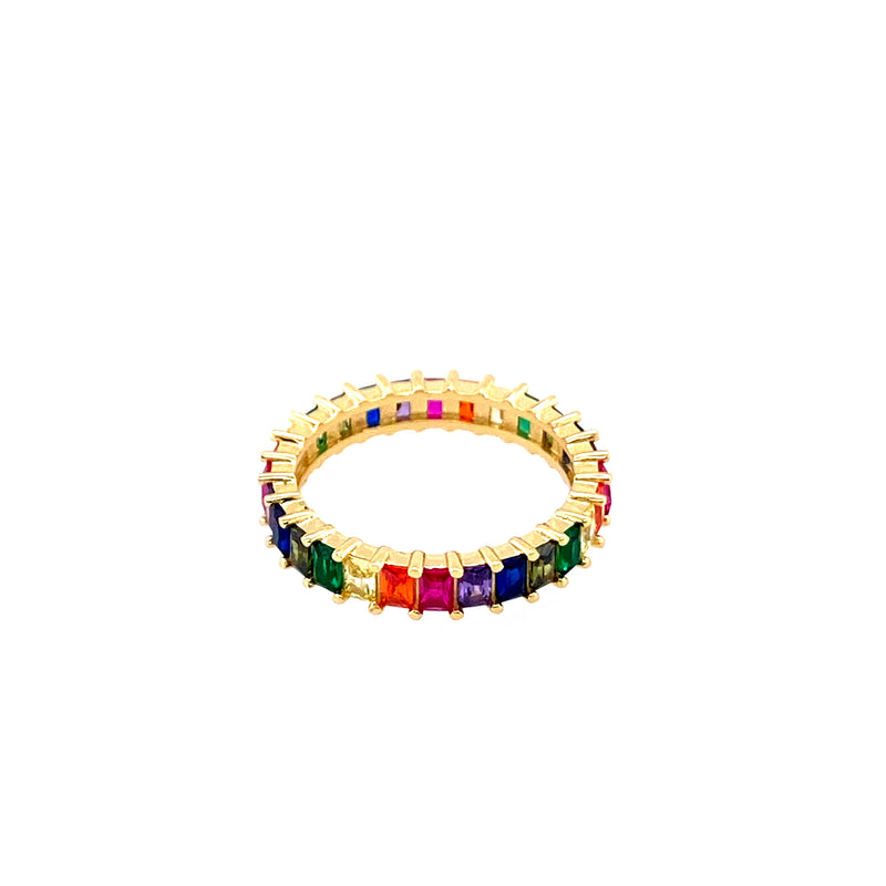Rainbow Baguette Crystal Band Ring (Size 7)