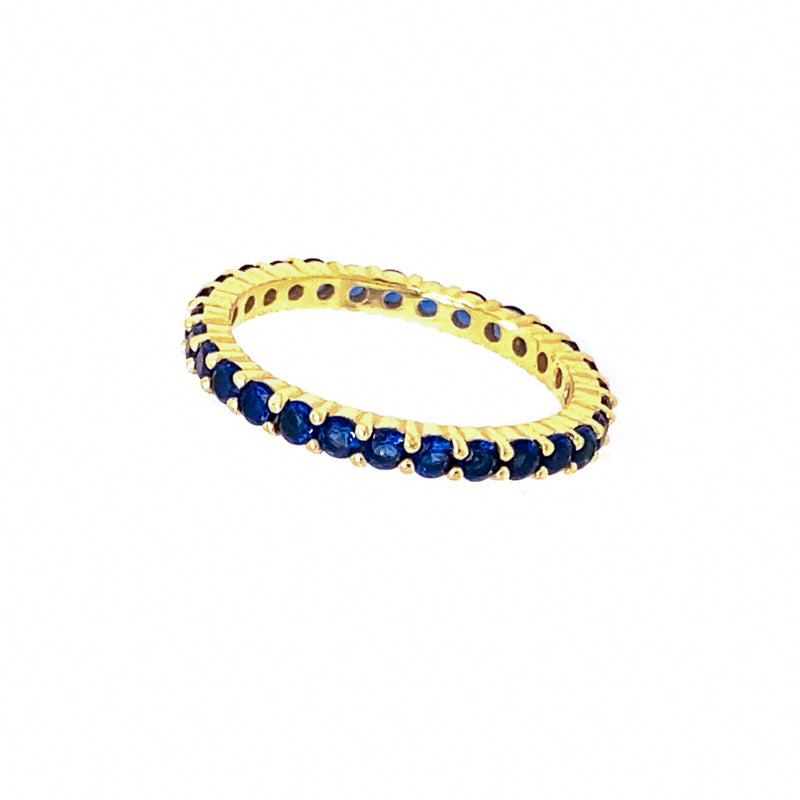 Blue CZ Band Ring