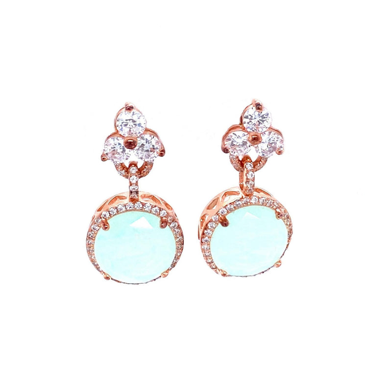 Rose Gold Earring With A Chalcedony Charm