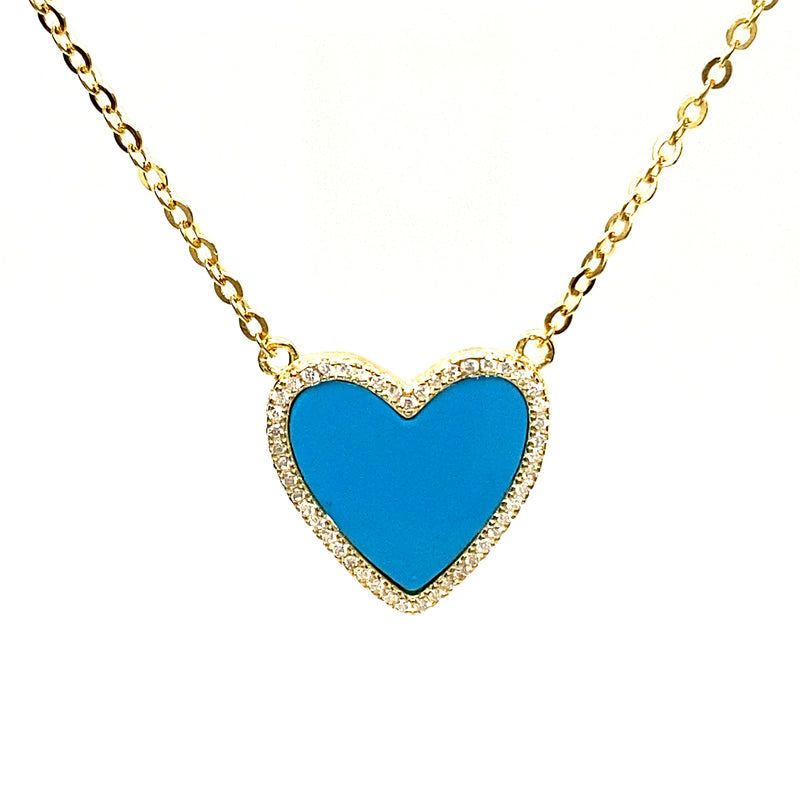 Turquoise Heart Necklace With Cubic Zirconia in Gold