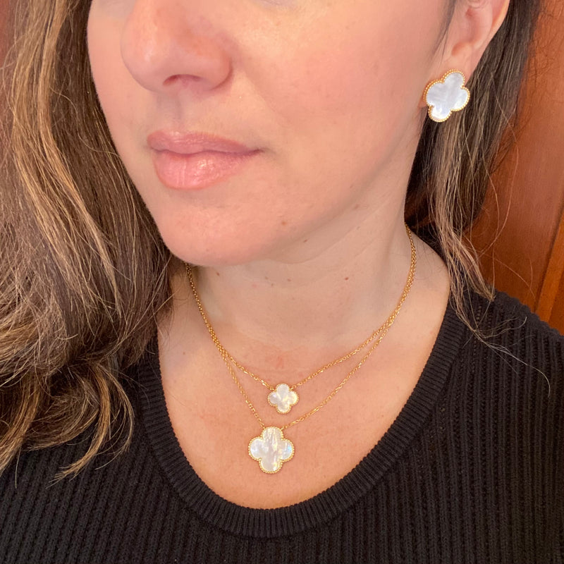 Mother Of Pearl Large Clover Studs in Gold