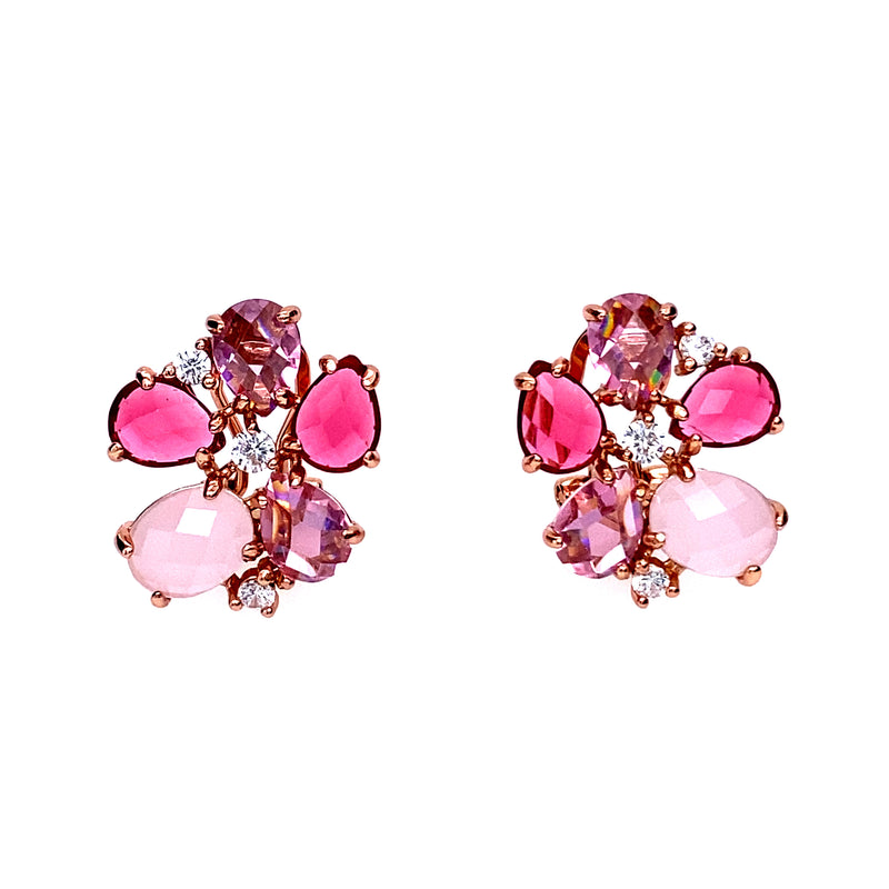 Eye Catching Pink and Rose Quartz Flower Earrings