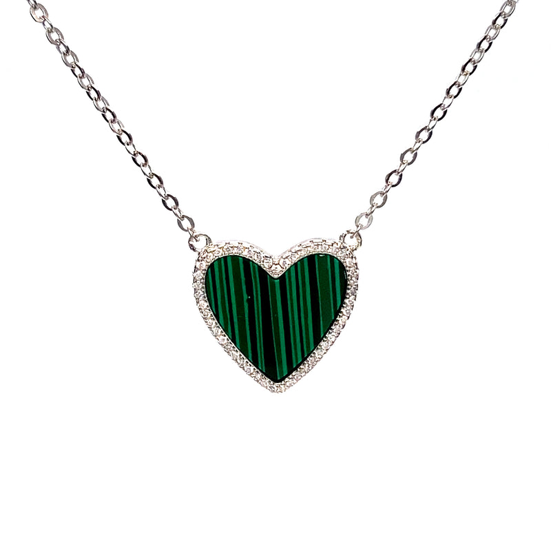 Emerald Heart Necklace With Cubic Zirconia in Silver