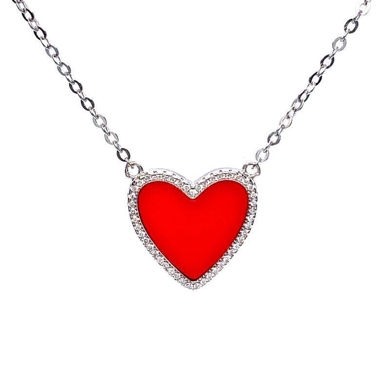 Red Heart Necklace With Cubic Zirconia in Silver or Gold