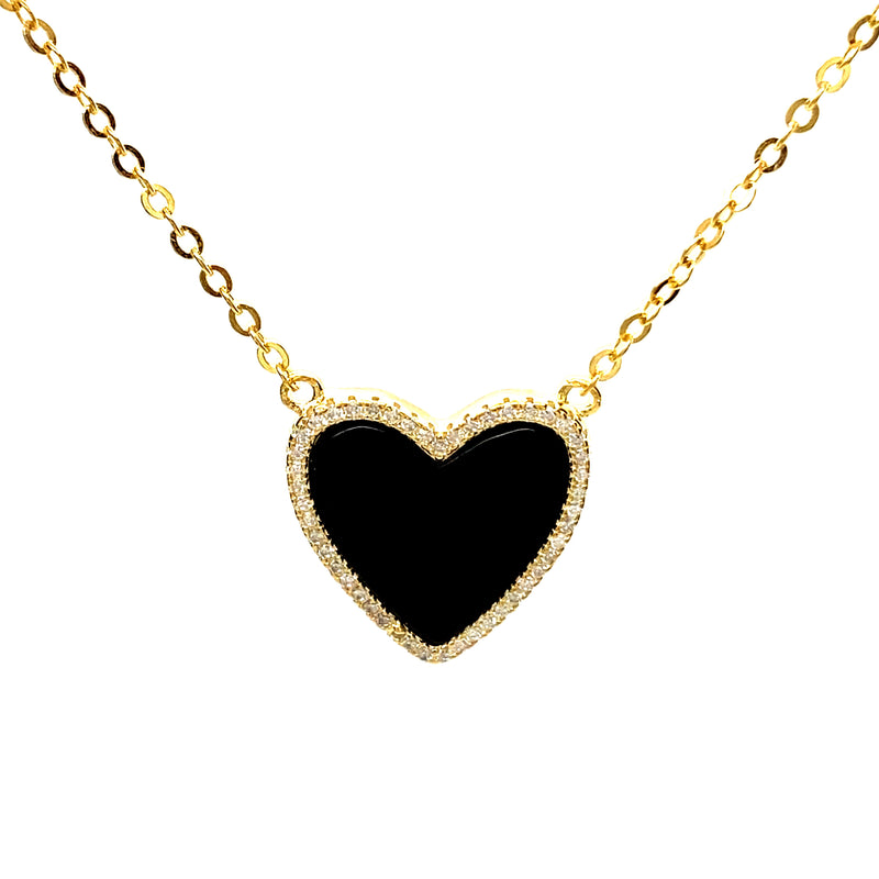 Black Heart Necklace With Cubic Zirconia in Silver or Gold