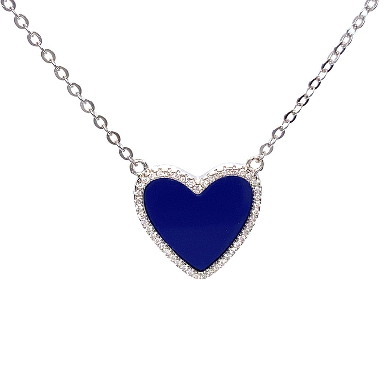 Blue Heart Necklace With Cubic Zirconia in Silver or Gold