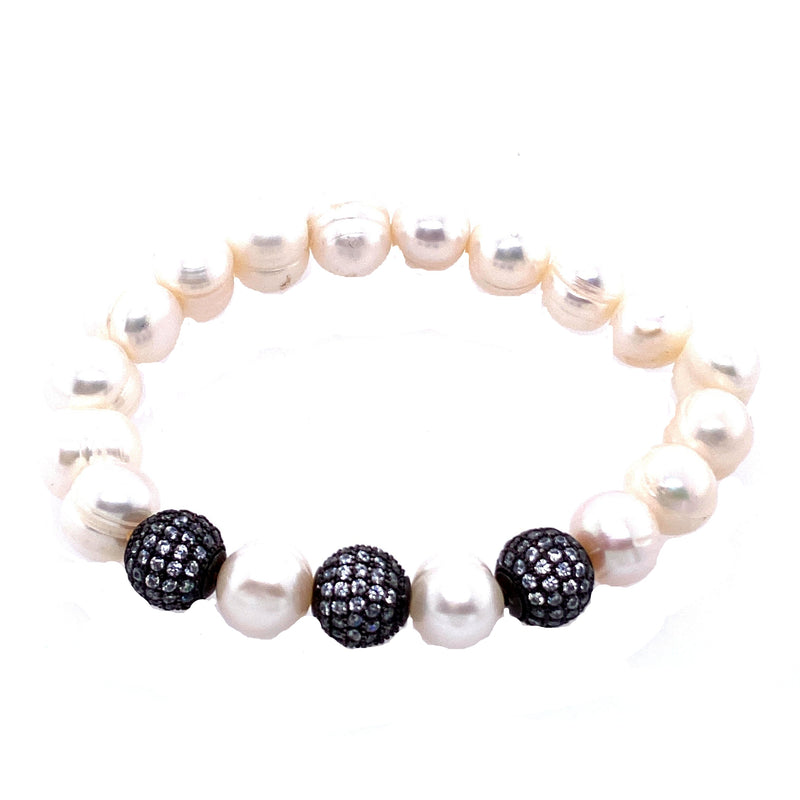 Freshwater Pearl & Crystal Ball Stretch Bracelet