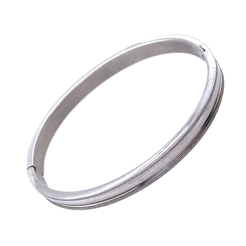 Silver Stainless Steel Bangle Bracelet