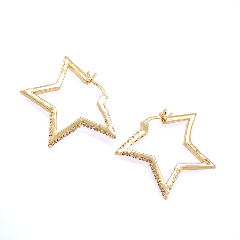 Cubic Zirconia Star Hoop Earrings