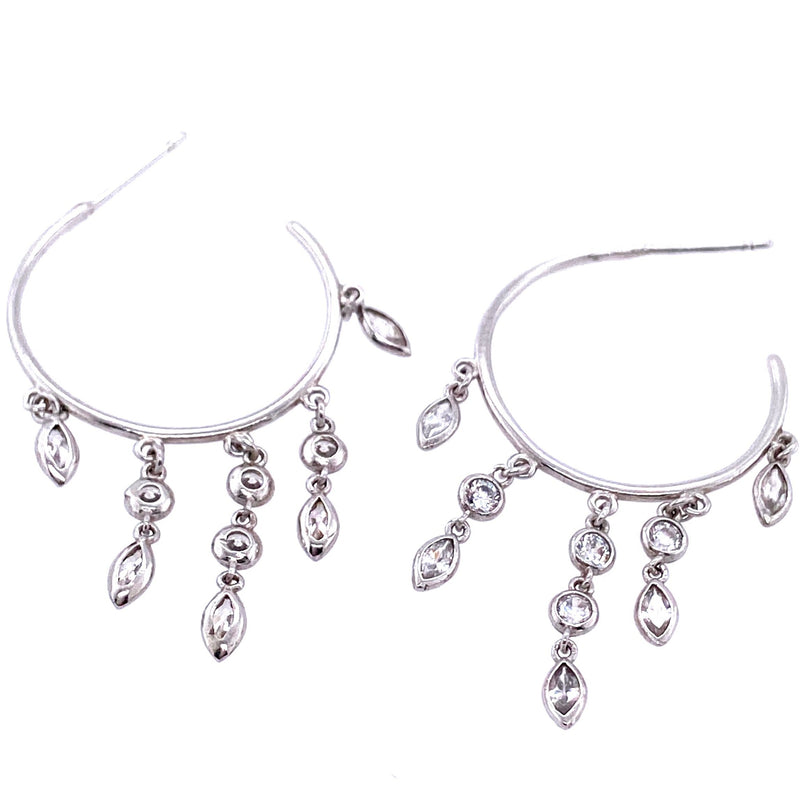 Sterling Silver Hoop Earrings With Crystal Charms