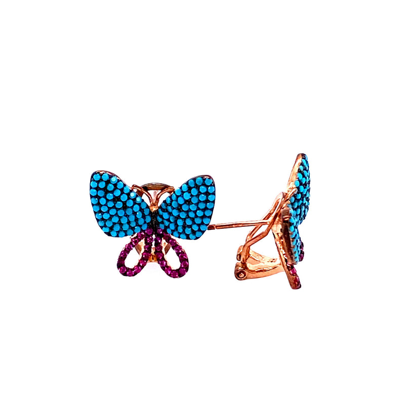 Pink And Blue Butterfly Earrings