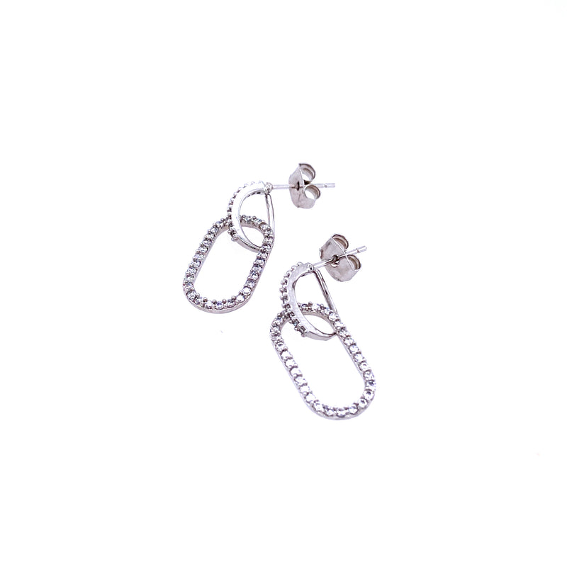 Crystal Link Earrings In Sterling Silver