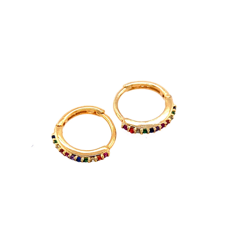 Mini Rainbow Huggie Hoop Earrings