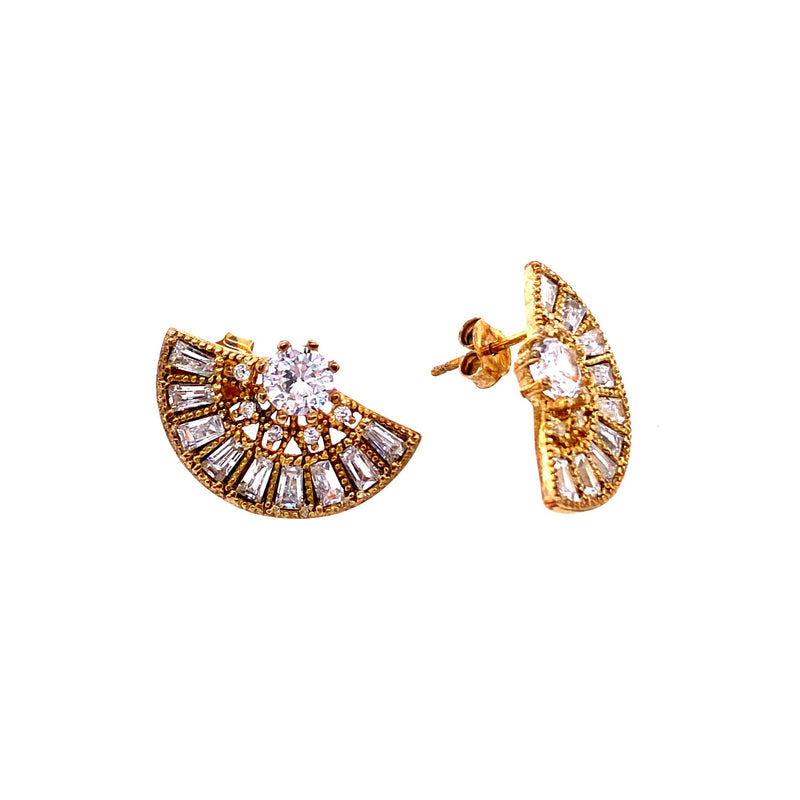 Fan Stud Earrings With Crystal Accents