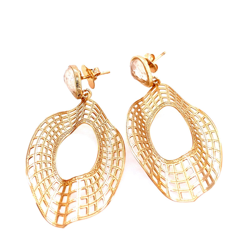 Gold Plated Fashion Earrings With Clear Quartz