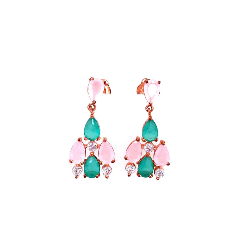 Rose Gold Earrings With Semi Precious Stones