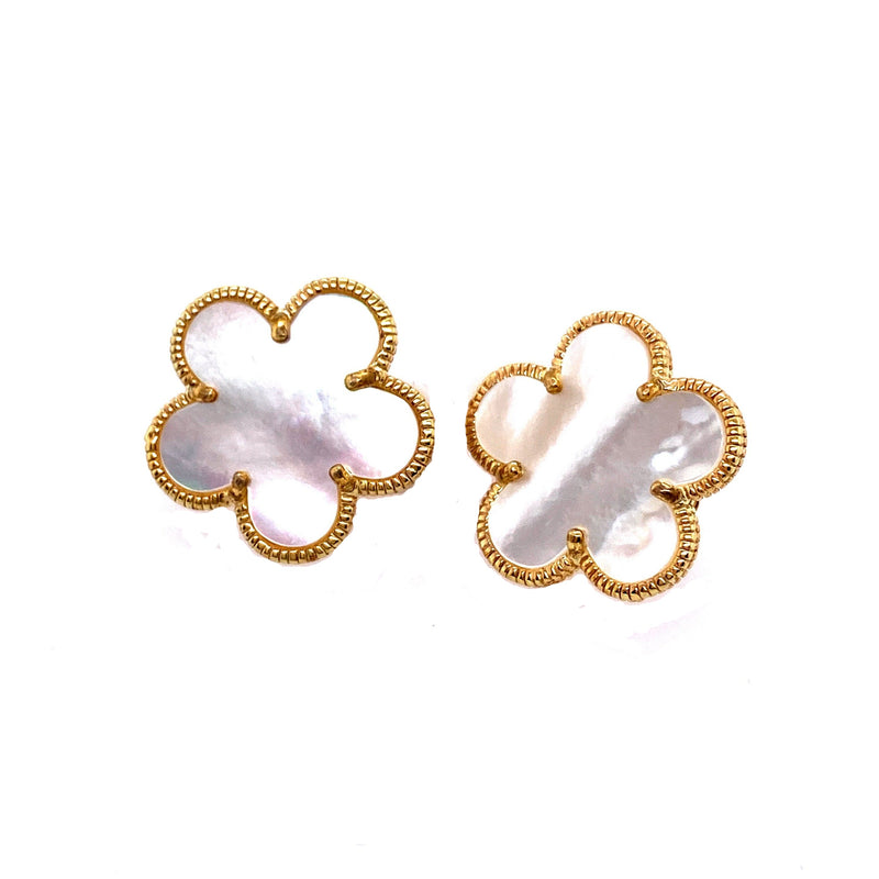 Mother-Of-Pearl Flower Clip On Earrings