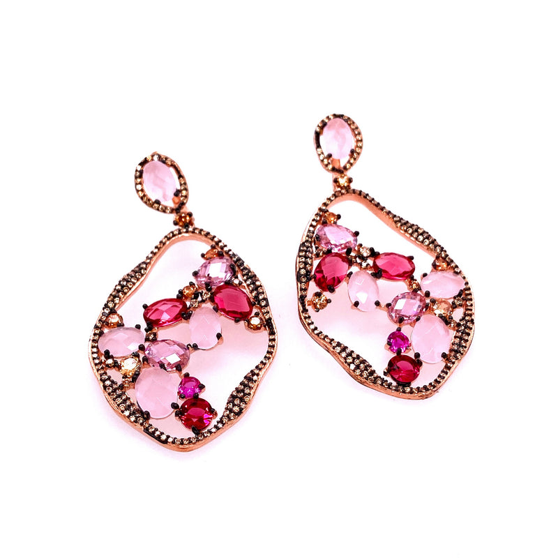 Pink Crystal and Rose Quartz Drop Earrings