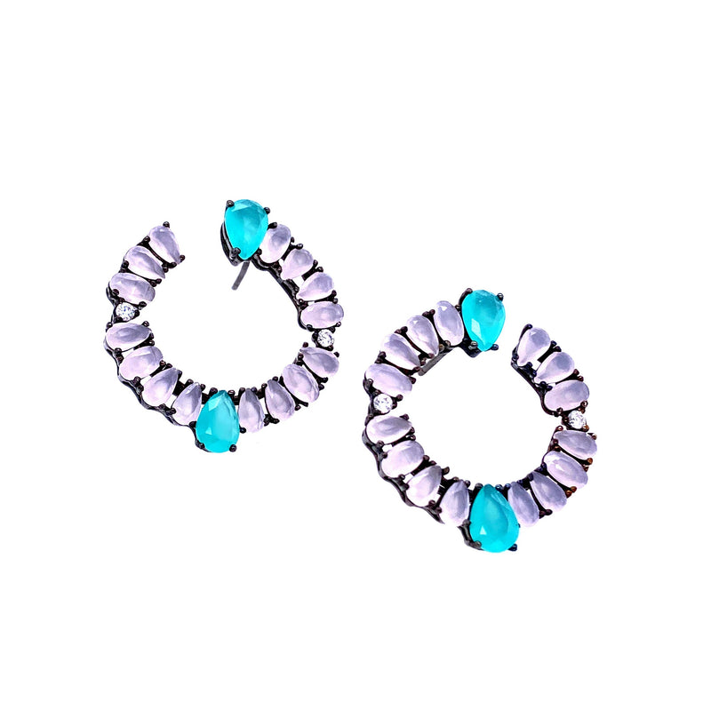 Colored Crystal Open Circle Earrings