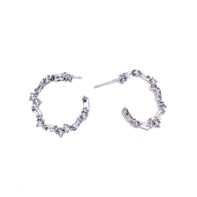 Open Circle Earrings With Baguette Crystals