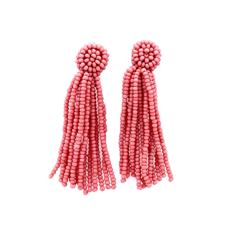 Coral Beaded Tassel Earrings