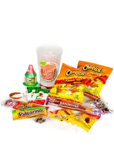 I Love Micheladas Somethign Extra package, includes Hot Cheetos, a 16 oz reusable cup, and an assortment of Mexican Candy